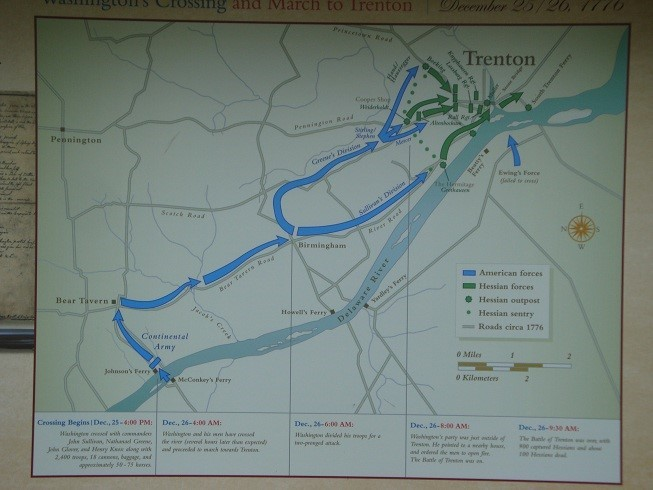 Map of Washington's crossing at the Delaware