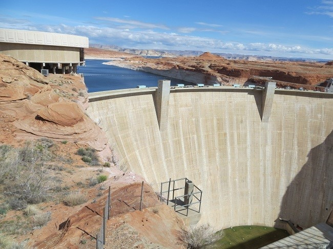 After Steve arrived, we headed down to Glen Canyon Dam. It is almost as big as Hoover, but looks much smaller.