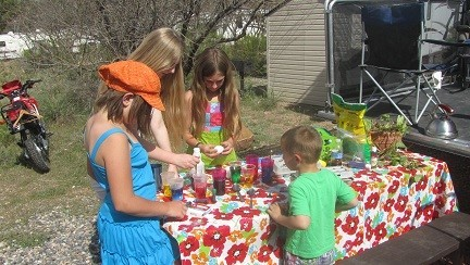 The Easter egg Dyeing crew hard at work