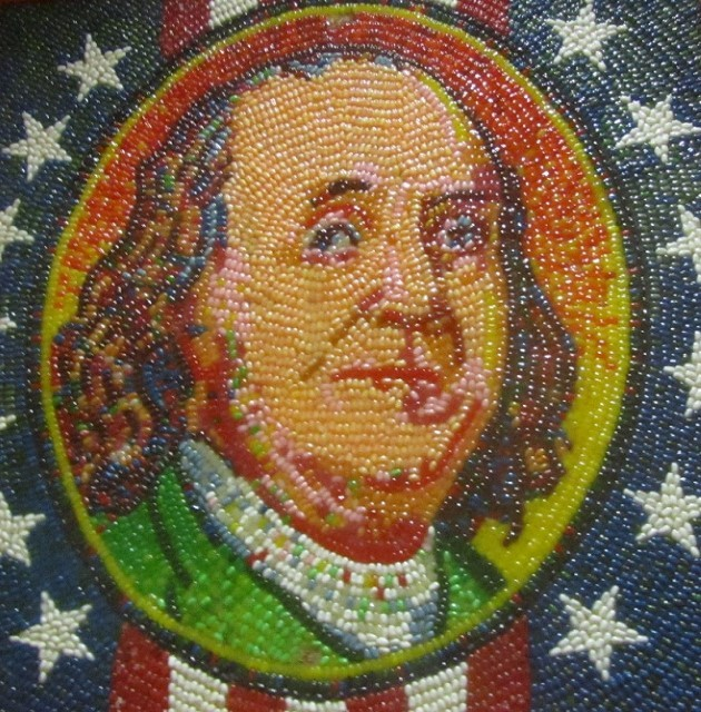 Benjamin Franklin immortalized in Jelly Beans and hot Glue. Don't let those artist around me just yet, I have more to do!