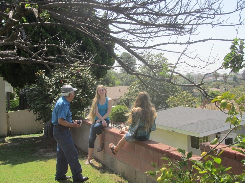 Paul and the girls visit. The girls are looking out over Catalina Island, but the smoke conceals the island.