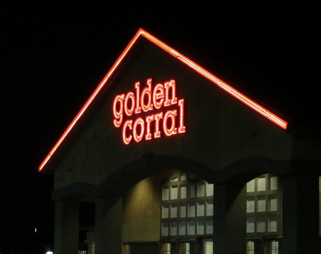 "We are now one fat and happy set of cowboy/cowgirl blimps! The Golden Corral is cowboy heaven! You get all you can eat ""steak"" which taste wonderful. Don't ask me where it comes from, cause I aint ask'n! At $11.95 who cares! You can eat until the place closes or you explode which ever comes first.  Unless it is prime rib night then they charge $12.95 Good evening and Good Night……….."