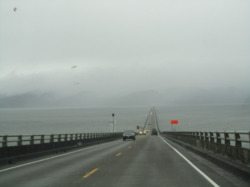 We have to cross the Columbia river to get there. This used to be a toll bridge, but the toll is no more, and this cheap guy is happy.