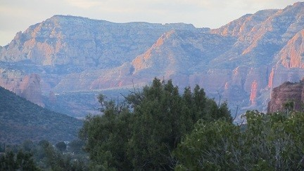 Sunset on the red hills in Sedonna Arizona
