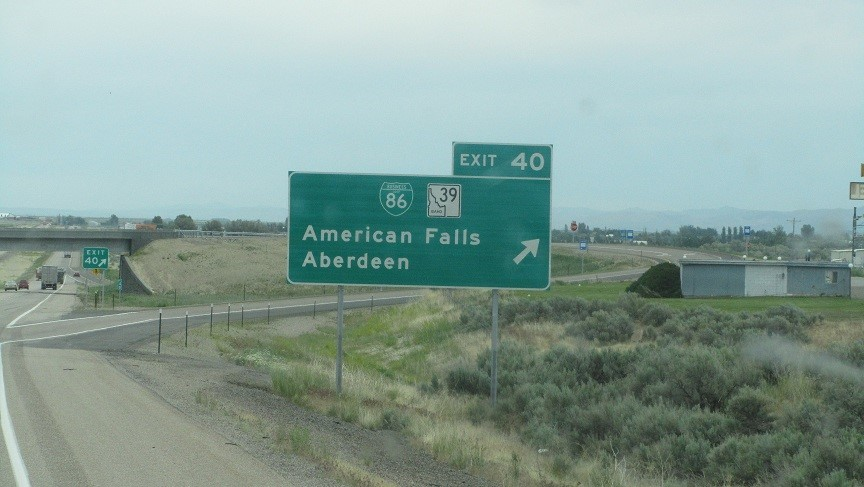 "We pass the town where Walmart gets it's bottles water. ""American Falls"" – looks a lot like a big lake to us."