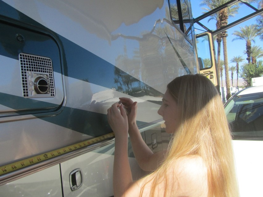 "Before we could leave for the Coachella Preserve and the Thousand Palms Oasis, Holly has to play with a tape measure. Her math class needs her to measure from two spots then figure the area and parameter of the side of the RV. I hope I never need this information my self. Should I need it, I am guessing ""Big Bill"" will be following close behind."