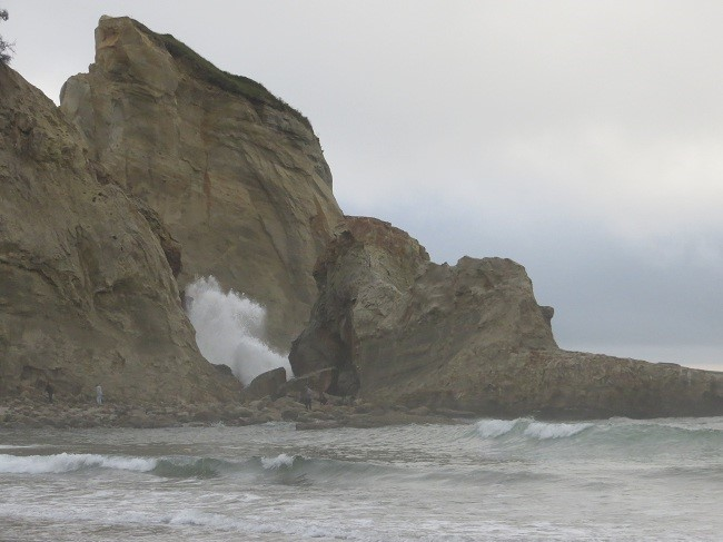 There was a rock arch that spanned the cliff and the rock above this wave a season ago. The stormy seas, brought the arch to its ruin. We will miss the arch.