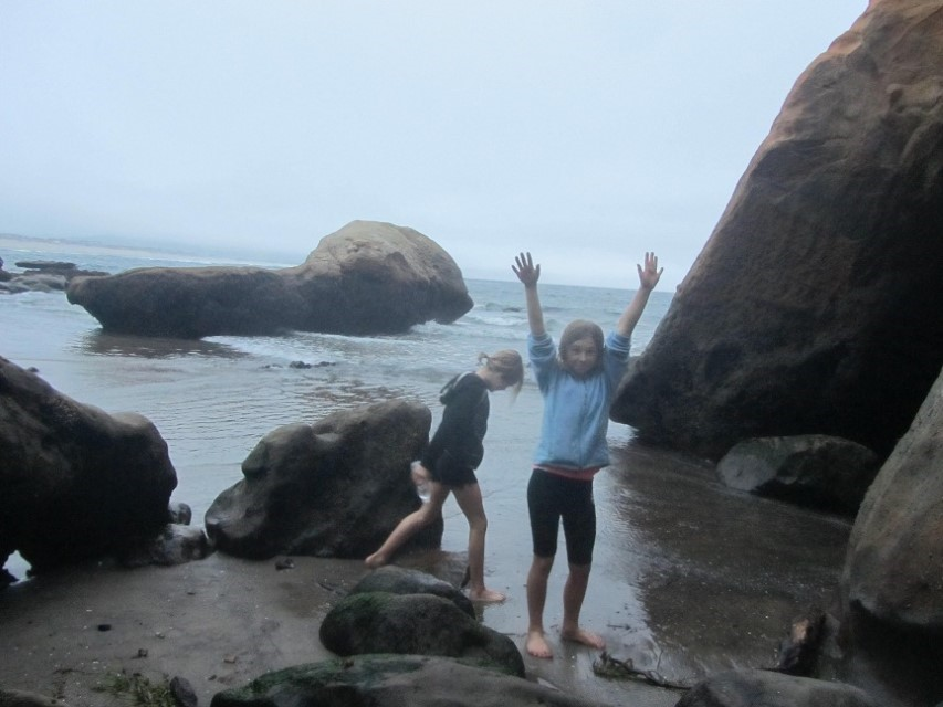 Sarah and Alana are out exploring the tide pools. Sarah, though is full of her normal manic energy.