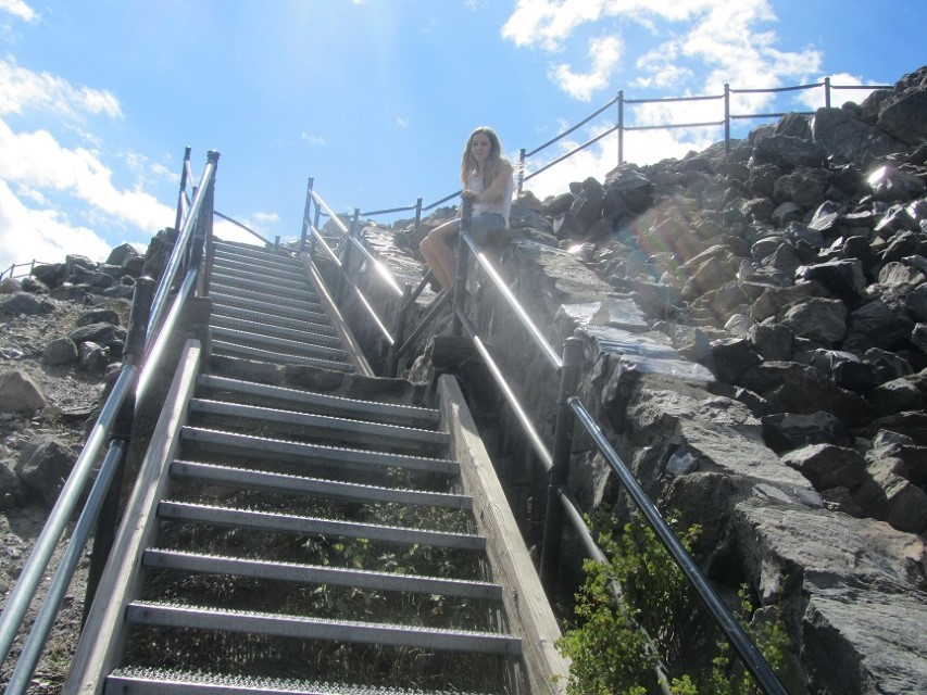 We arrive at the Big Obsidian Flow by Paulina Lake. These stairs are long and steep.