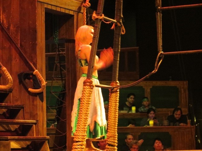 This lady likes to dance and fly on ropes, and ribbons. They call her wench.