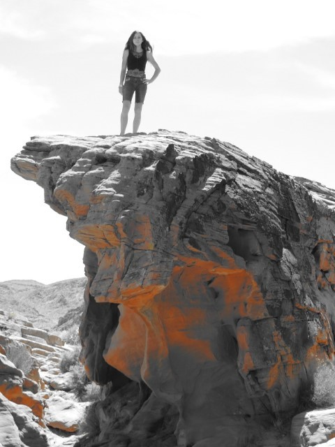 She did not put it back before giving it to me, now I have a really weird picture of Sarah. The camera took the red out of the rock, and the park service is not going to be happy.