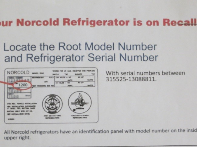 An administrative note: If you have a refrigerator model 1200 with serial numbers in the above picture, there is a recall on the unit. A little piece that limits temperature build up may well be defective, and cause fire. The fire, would probably make Daunte's Inferno look like a camp fire. It's probably no big deal except refrigerator are typically intended to keep things cool, campfires not so much.