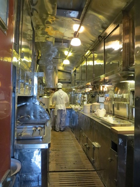 They have kitchen on the dining car, but the cooks are so old they are petrified. That being said, the current food service is slow.