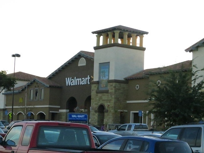 We needed a Walmart and found one! The façade makes it look like a casino! They are going to have to raise their prices to keep up with ornate facades, or since they are now all-powerful in brick and mortar retail land they could just install slot machines so that men have something to do while their wives shop. On the way out, Walmart could hand out prize to the spouse who parted with the most cash. I think the ladies will always win. :)