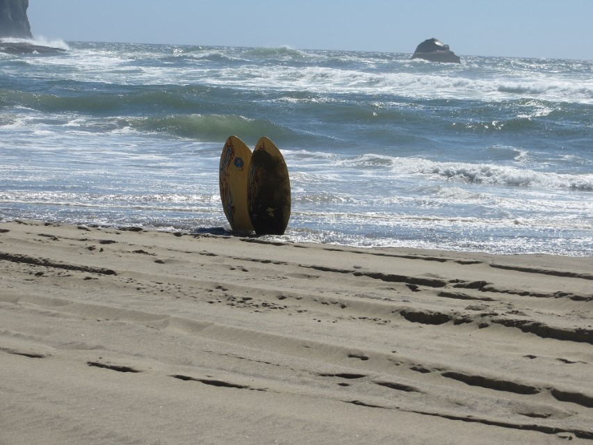 Surfs up a plus seven tibe is coming in Pacific City Oregon